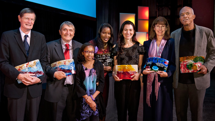 "(Left to Right) David Eltis and David Richardson, authors of ""Atlas of the Transatlantic Slave Trade"" Isabel Wilkerson, author of ""The Warmth of Other Suns"" Nicole Krauss, author of ""Great House"" Mary Helen Stefaniak, author of ""The Cailiffs of Baghdad, Georgia"" John Edgar Wideman, winner of Lifetime Achievement Award Essence Cain, poet ""In the Flower Market"" (front)"