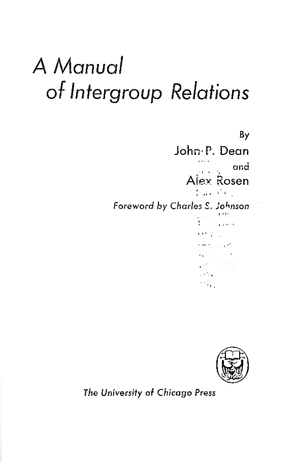 Cover of A Manual of Intergroup Relations