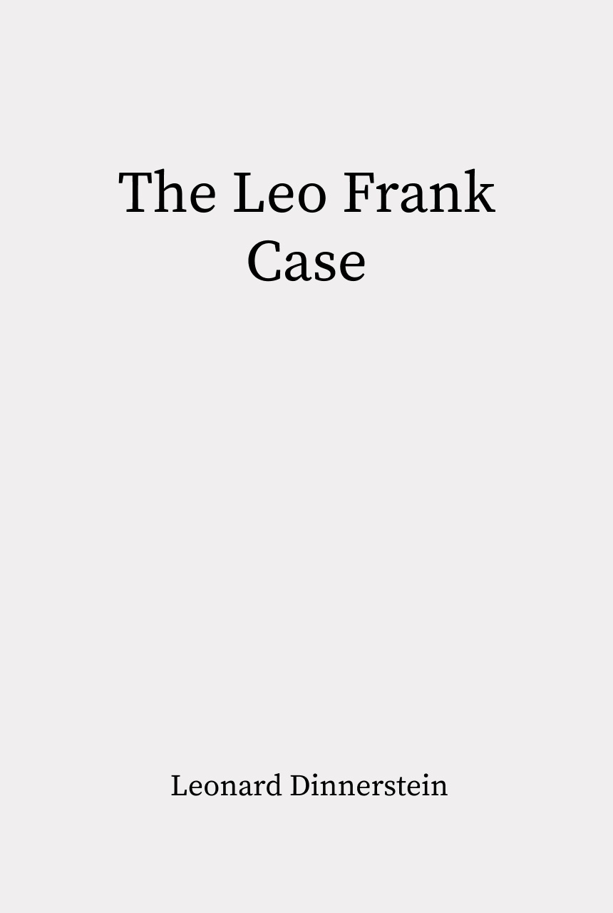 Cover of The Leo Frank Case