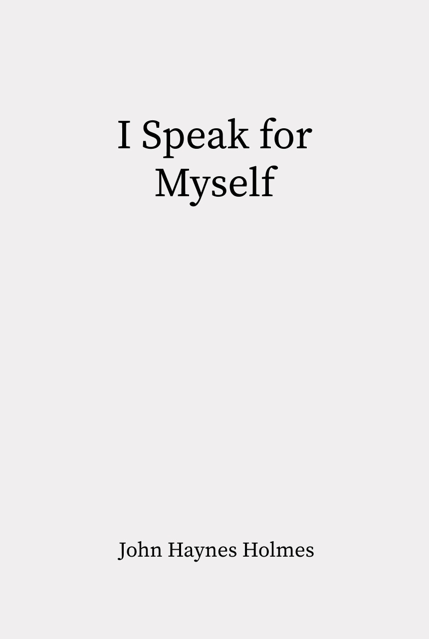 Cover of I Speak for Myself
