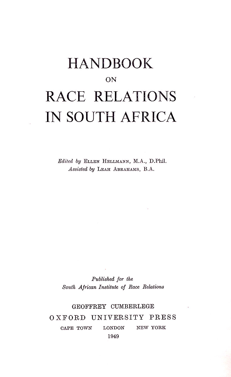 Cover of Handbook on Race Relations