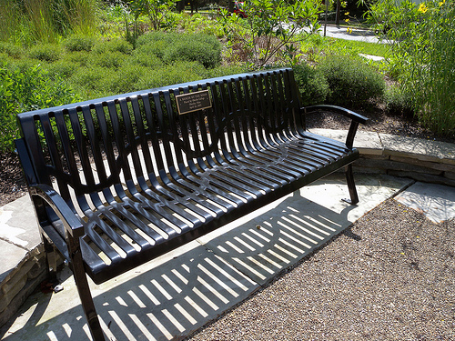 """One of the benches in the """"Bench by the Road"""" project. There are currently 19 benches marking significant locations in African-American history and culture.  Photo by Hilary Solan"""