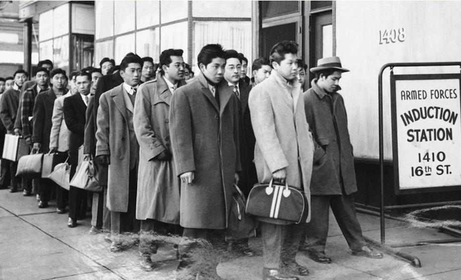Japanese Americans report for physical examinations in Denver on February 22, 1944, before being sent to the internment camps. Photo courtesy Good Luck Soup film.